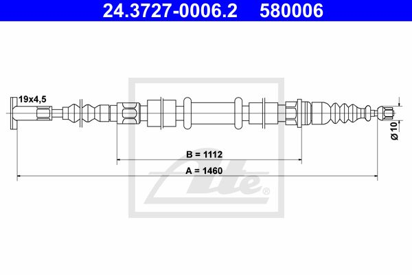 ATE Cable, parking brake 24.3727-0006.2
