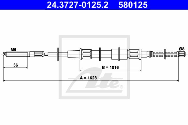 ATE Cable, parking brake 24.3727-0125.2