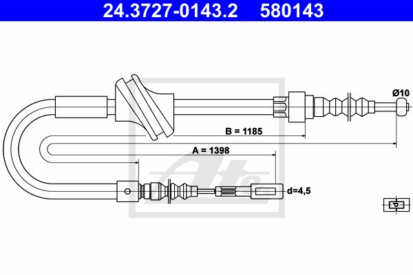 ATE Cable, parking brake 24.3727-0143.2
