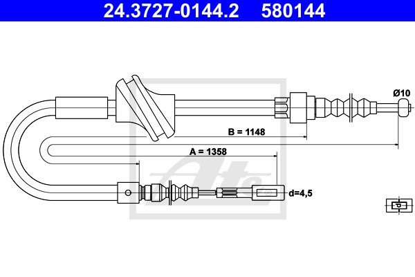 ATE Cable, parking brake 24.3727-0144.2