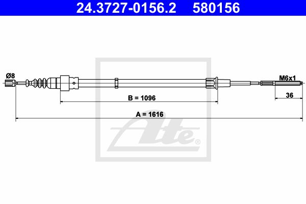 ATE Cable, parking brake 24.3727-0156.2