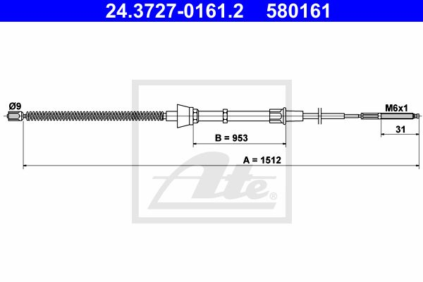 ATE Cable, parking brake 24.3727-0161.2