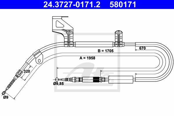 ATE Cable, parking brake 24.3727-0171.2