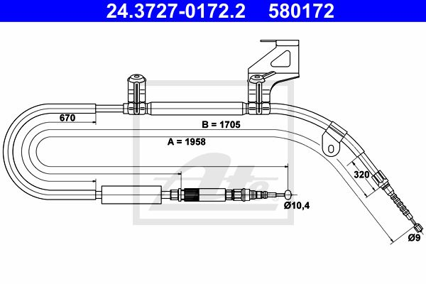 ATE Cable, parking brake 24.3727-0172.2