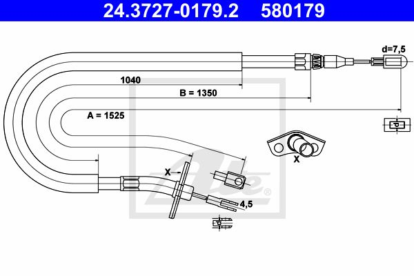 ATE Cable, parking brake 24.3727-0179.2