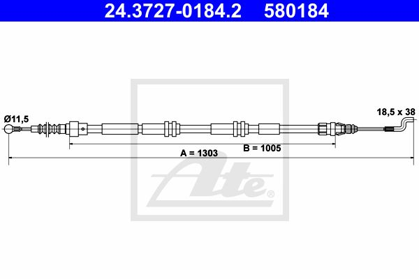 ATE Cable, parking brake 24.3727-0184.2