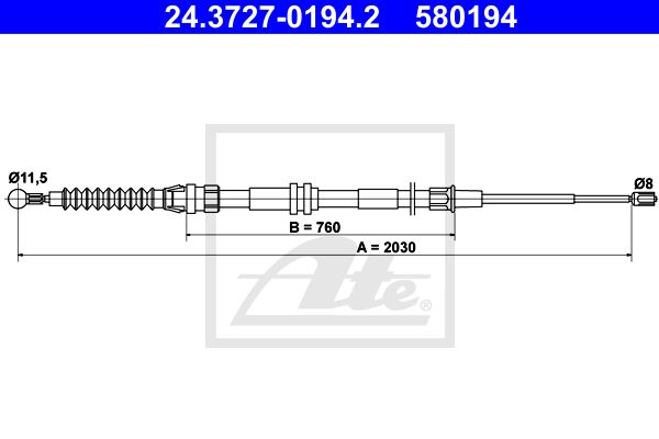 ATE Cable, parking brake 24.3727-0194.2