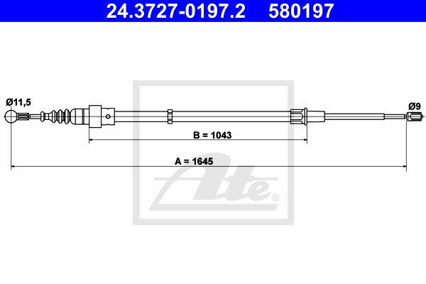 ATE Cable, parking brake 24.3727-0197.2