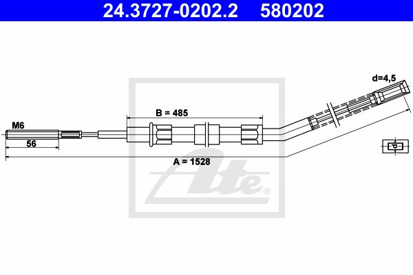 ATE Cable, parking brake 24.3727-0202.2