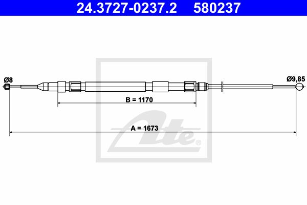 ATE Cable, parking brake 24.3727-0237.2