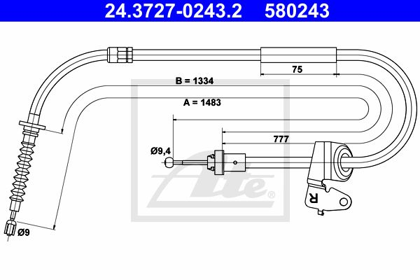 ATE Cable, parking brake 24.3727-0243.2