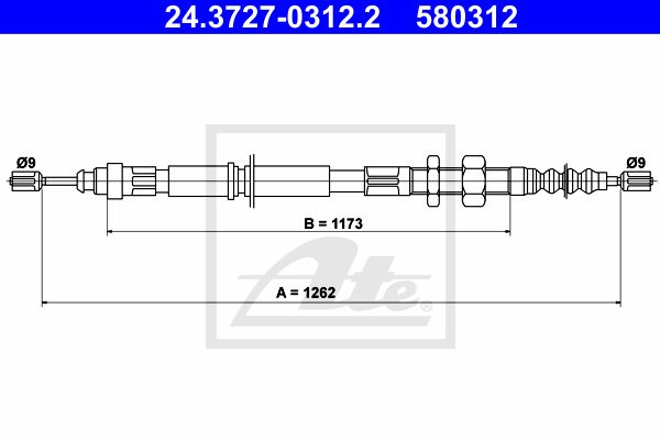 ATE Cable, parking brake 24.3727-0312.2