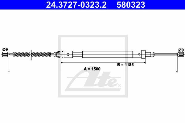 ATE Cable, parking brake 24.3727-0323.2