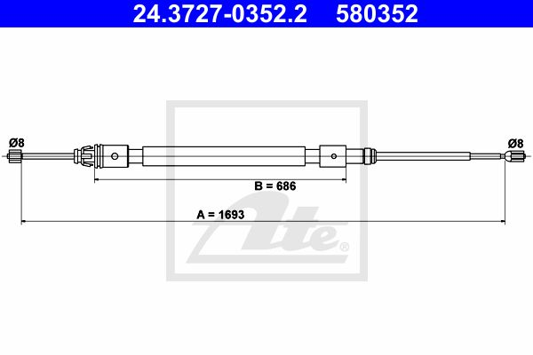 ATE Cable, parking brake 24.3727-0352.2