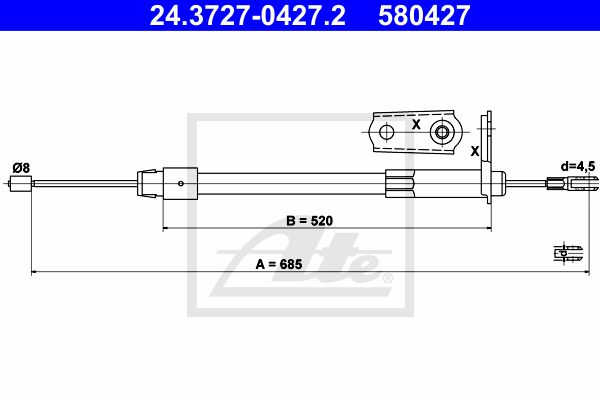 ATE Cable, parking brake 24.3727-0427.2