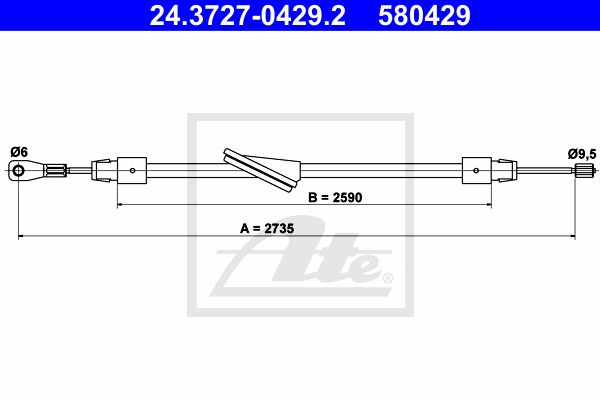 ATE Cable, parking brake 24.3727-0429.2