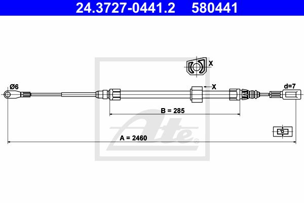 ATE Cable, parking brake 24.3727-0441.2