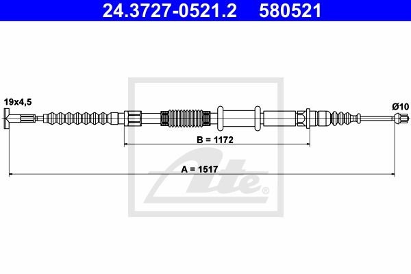 ATE Cable, parking brake 24.3727-0521.2
