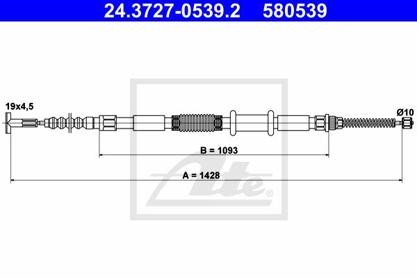 ATE Cable, parking brake 24.3727-0539.2