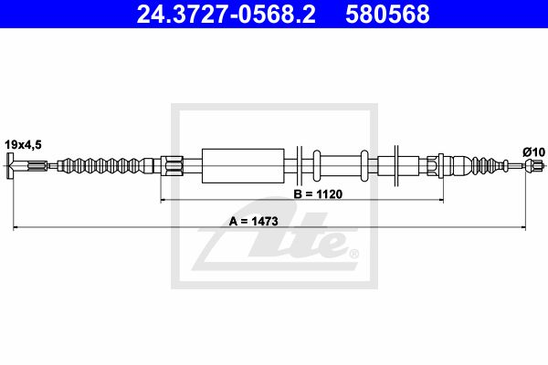 ATE Cable, parking brake 24.3727-0568.2