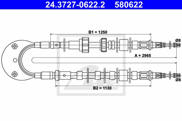 ATE Cable, parking brake 24.3727-0622.2