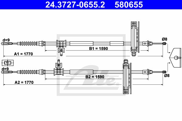 ATE Cable, parking brake 24.3727-0655.2