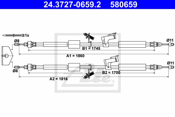ATE Cable, parking brake 24.3727-0659.2
