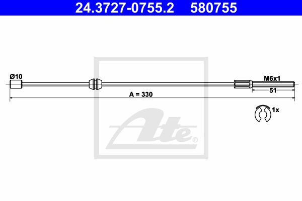 ATE Cable, parking brake 24.3727-0755.2