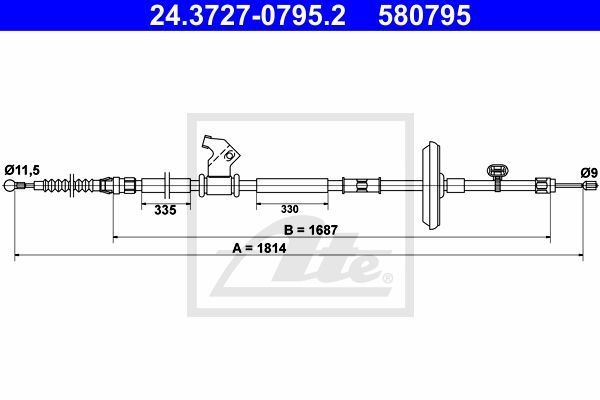 ATE Cable, parking brake 24.3727-0795.2