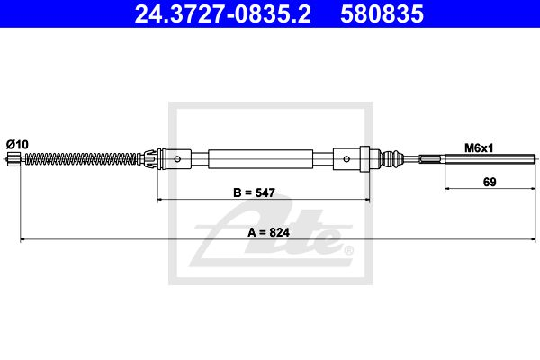 ATE Cable, parking brake 24.3727-0835.2