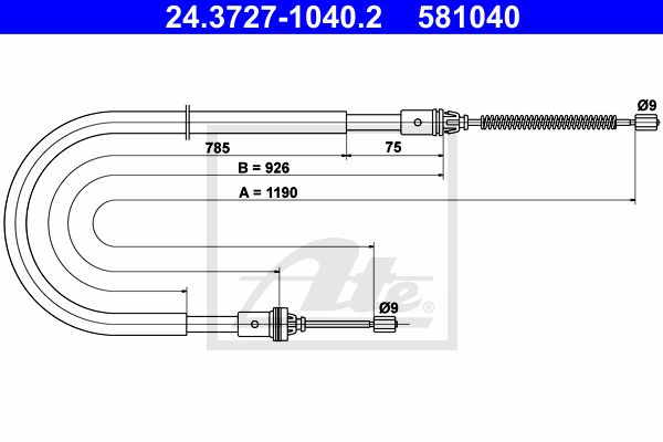 ATE Cable, parking brake 24.3727-1040.2