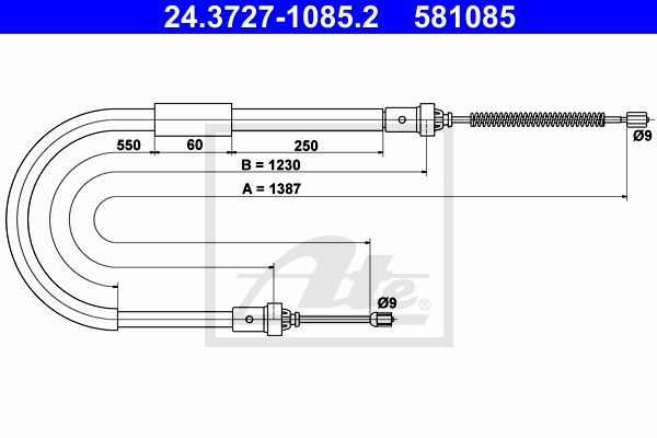 ATE Cable, parking brake 24.3727-1085.2