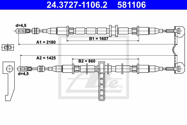 ATE Cable, parking brake 24.3727-1106.2
