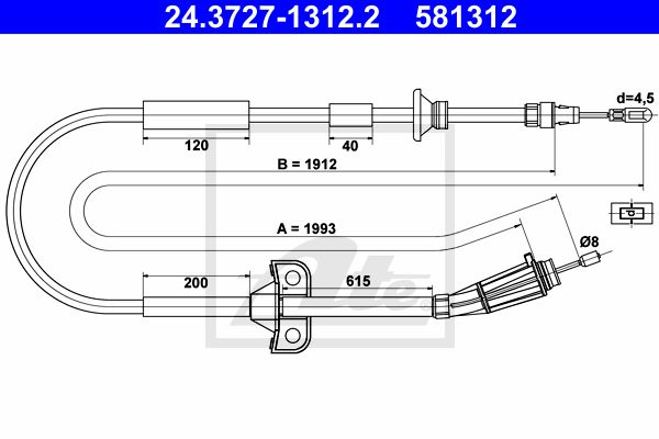 ATE Cable, parking brake 24.3727-1312.2