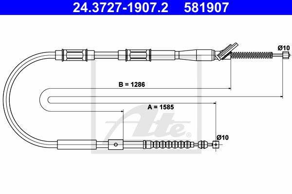 ATE Cable, parking brake 24.3727-1907.2