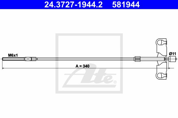 ATE Cable, parking brake 24.3727-1944.2