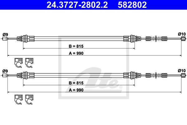 ATE Cable, parking brake 24.3727-2802.2