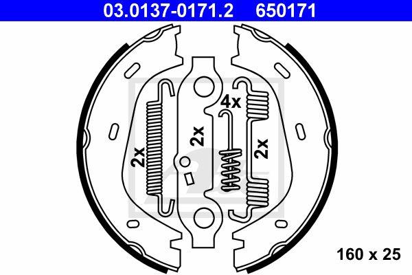 ATE Brake Shoe Set, parking brake 03.0137-0171.2