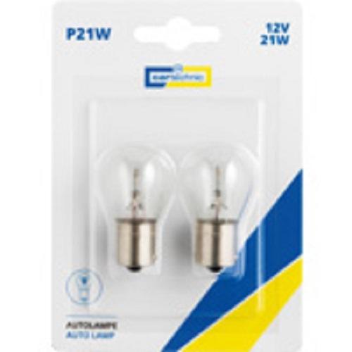 CARTECHNIC Metallsockellampe Glühbirne Glühlampe P21W 21Watt 12 Volt BA15s Blister 2 Stück 40 27289 00590 4